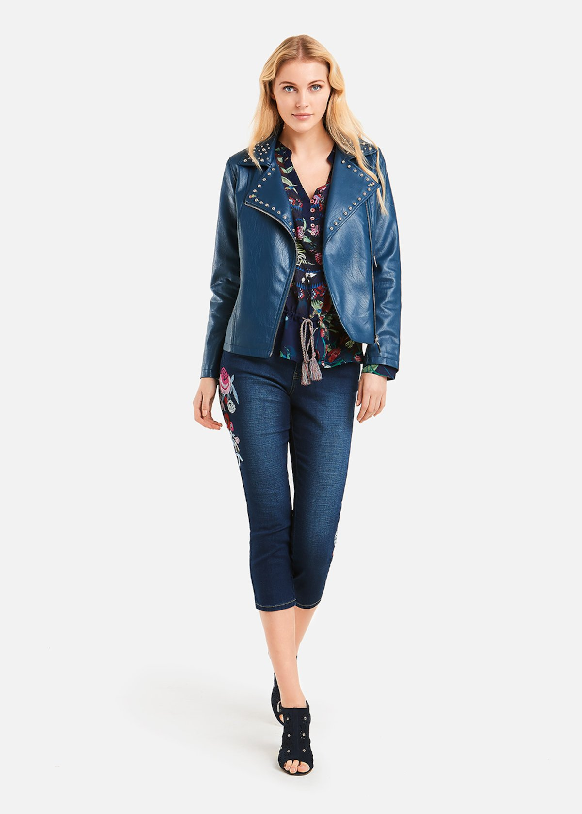 Giudit jacket with studs on collar - Blue