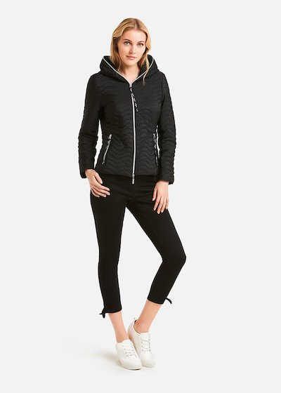 Peggy hooded padded jacket wave effect - Black