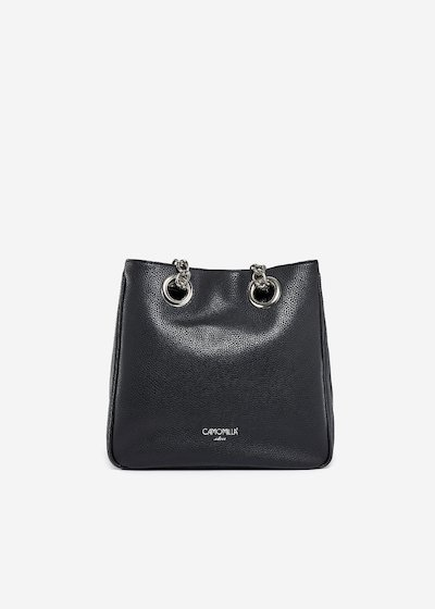 Borsara faux leather shopping bag with chain handles