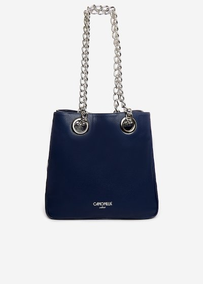 Bosara faux leather shopping bag with printed silver logo