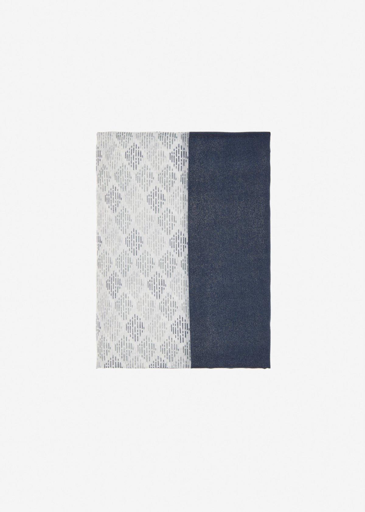 Soleh scarf with micro print - Medium Blue Silver Fantasia