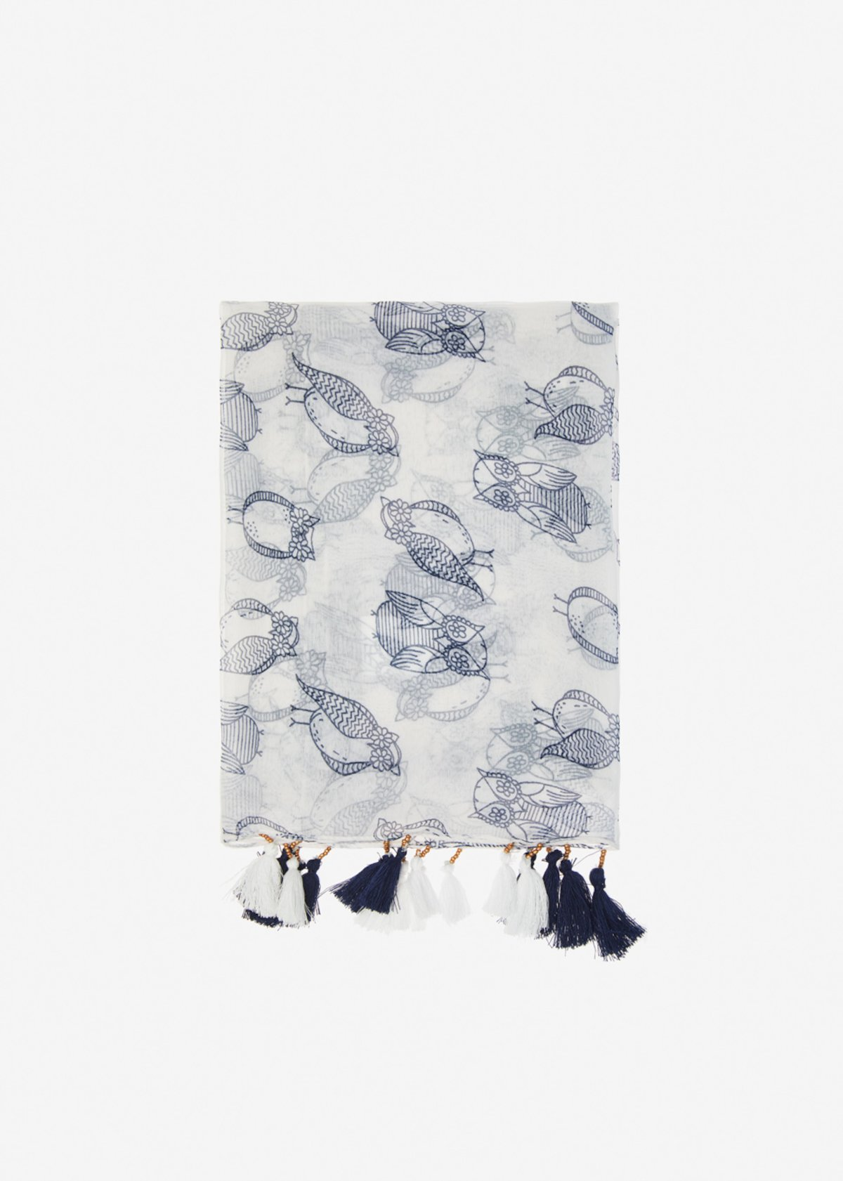 Shera scarf with bicolour little tassels - White Fantasia