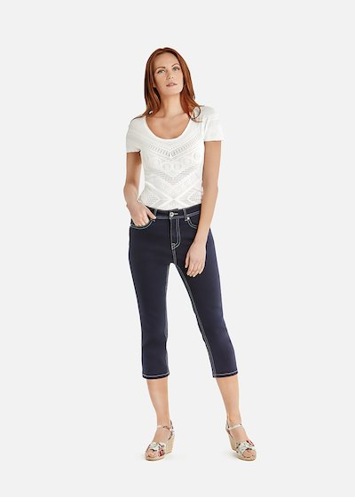 Pear Capri trousers with colorful saddle stitches