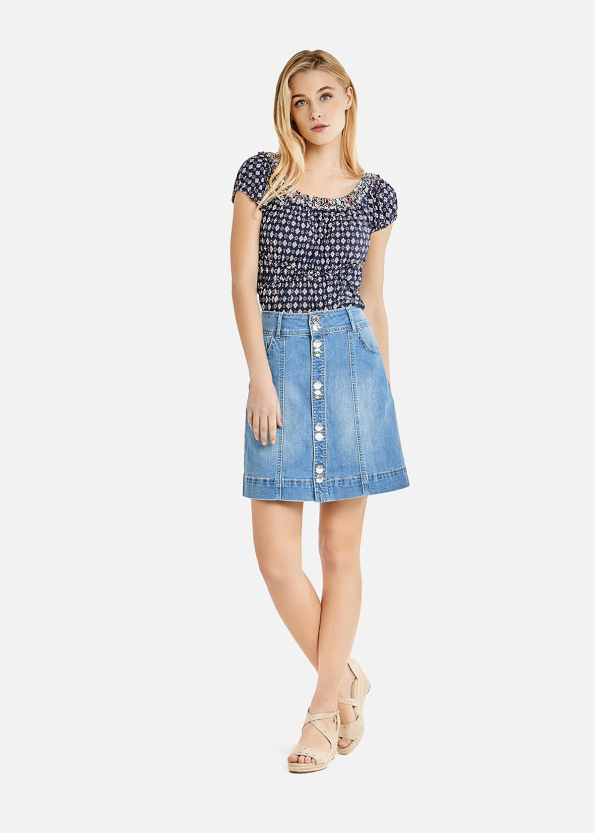Gaby denim mini-skirt with buttons