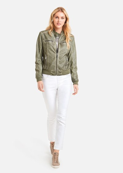 Faux leather Gledis jacket perforated processing - Mint