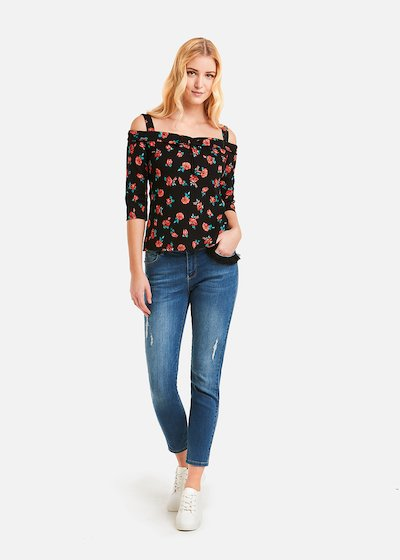 Shelly t-shirt fancy roseswith bow