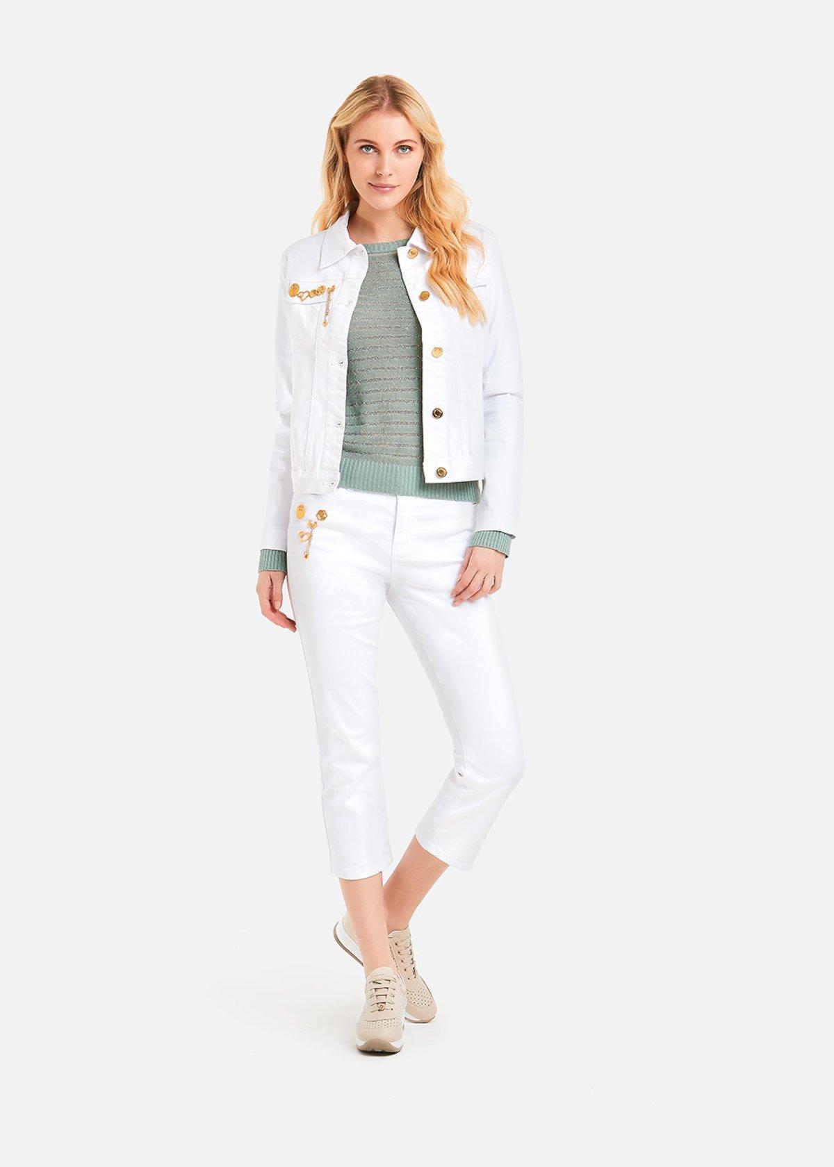 Pantaloni Pretty con dettagli light gold rose - White
