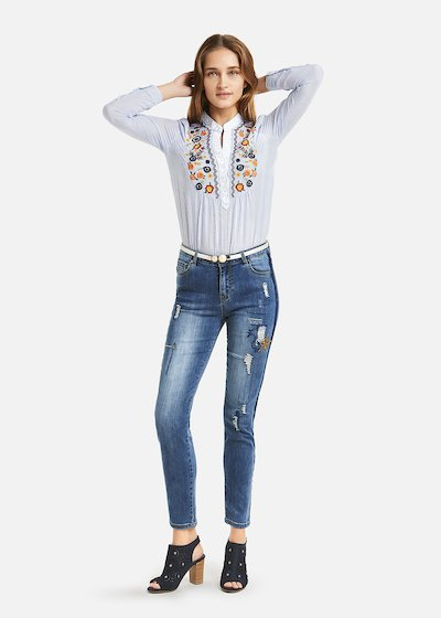 Daryl denim with star embroidery - Blue