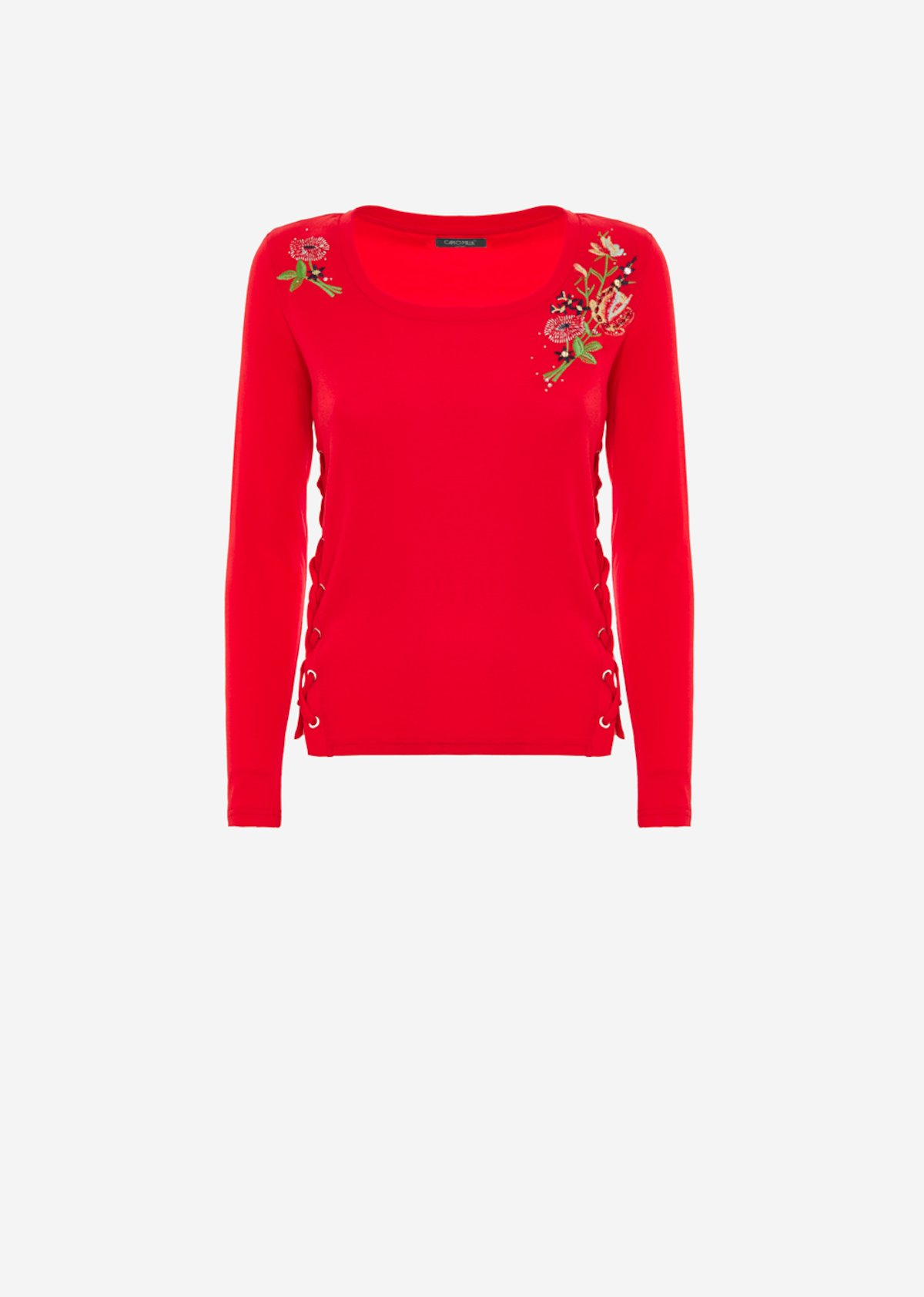 Shally t-shirt with floral embroidery - Poppy