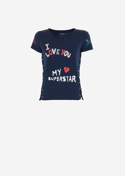 T-shirt criss-cross Suny con stampa lettering