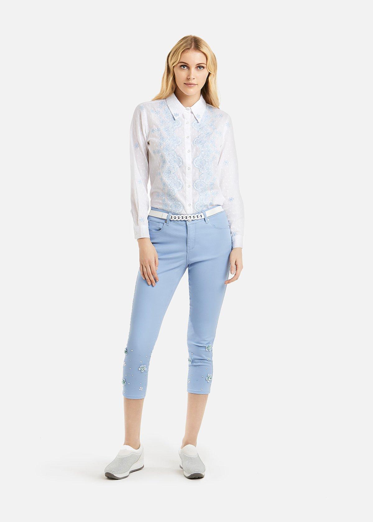 Pantaloni Picky 5 tasche con dettaglio fiori