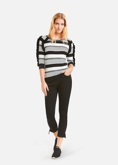 Multi-stripes Moyna sweater with black ruffles
