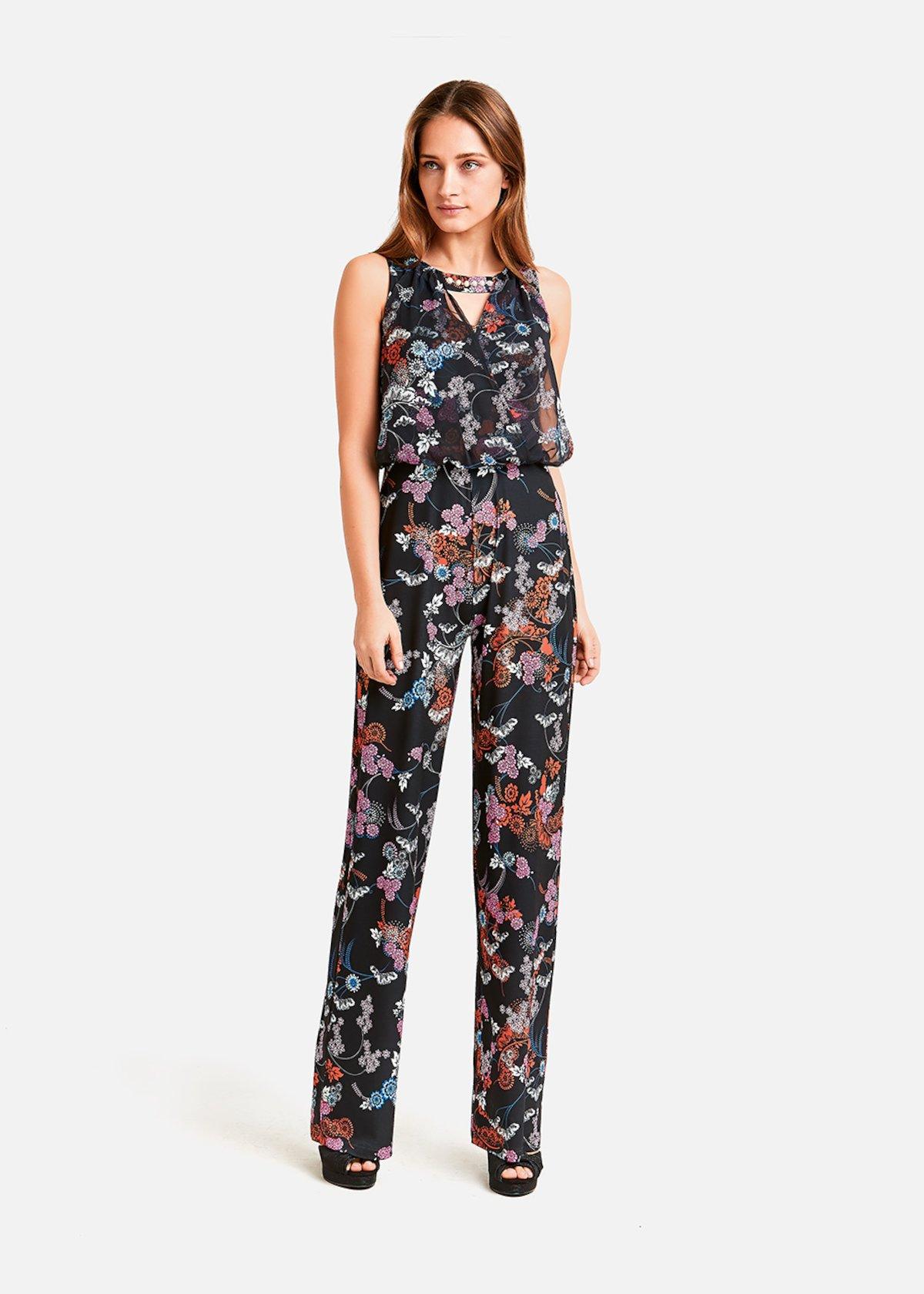 Tiger jumpsuit floral pattern - Black\ Poppy\ Fantasia