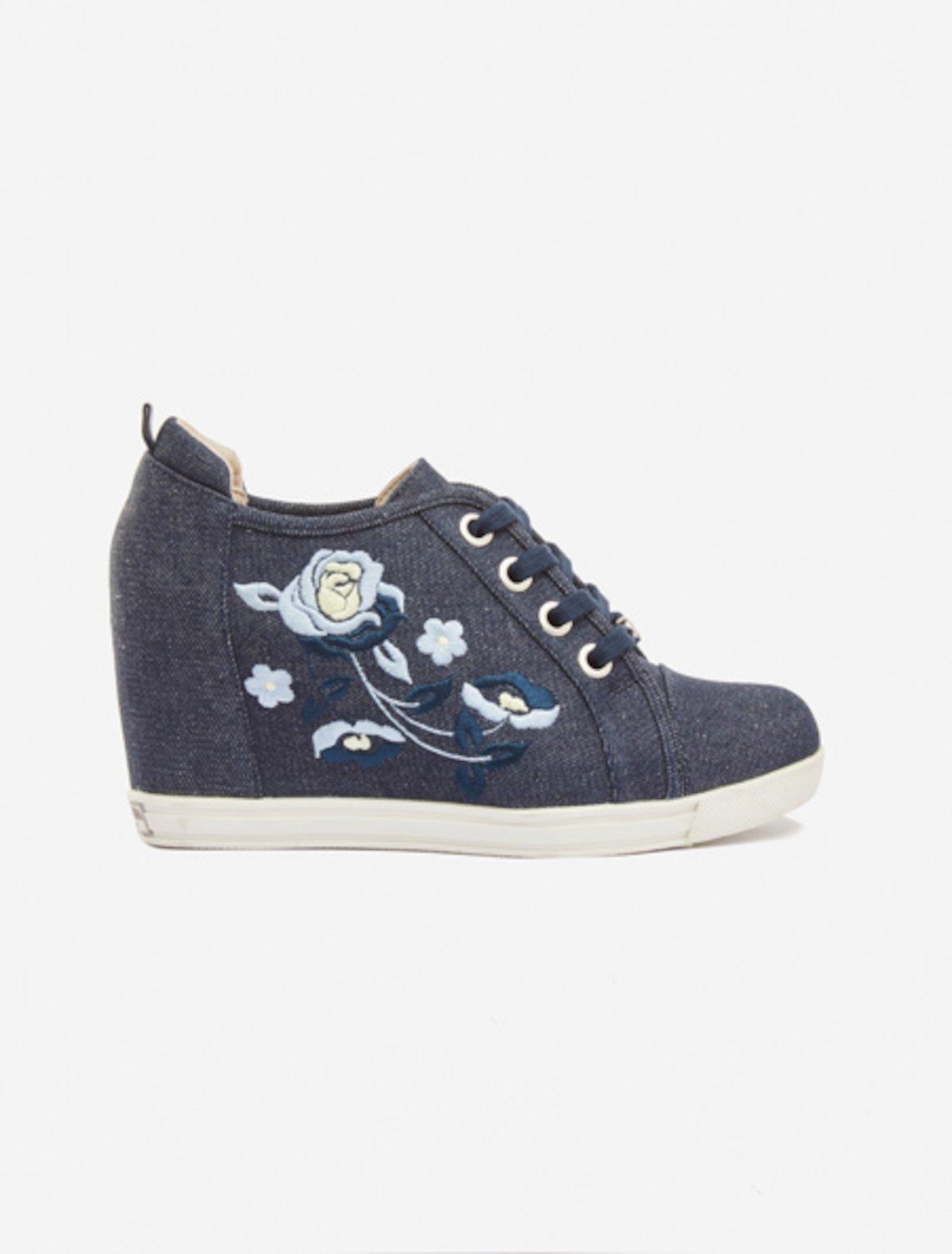 Samantha floral embroidery denim shoes - Dark Denim