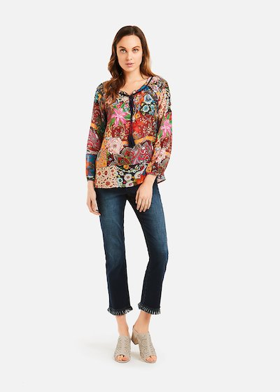 Cristy blouse with embroidery and lanyard