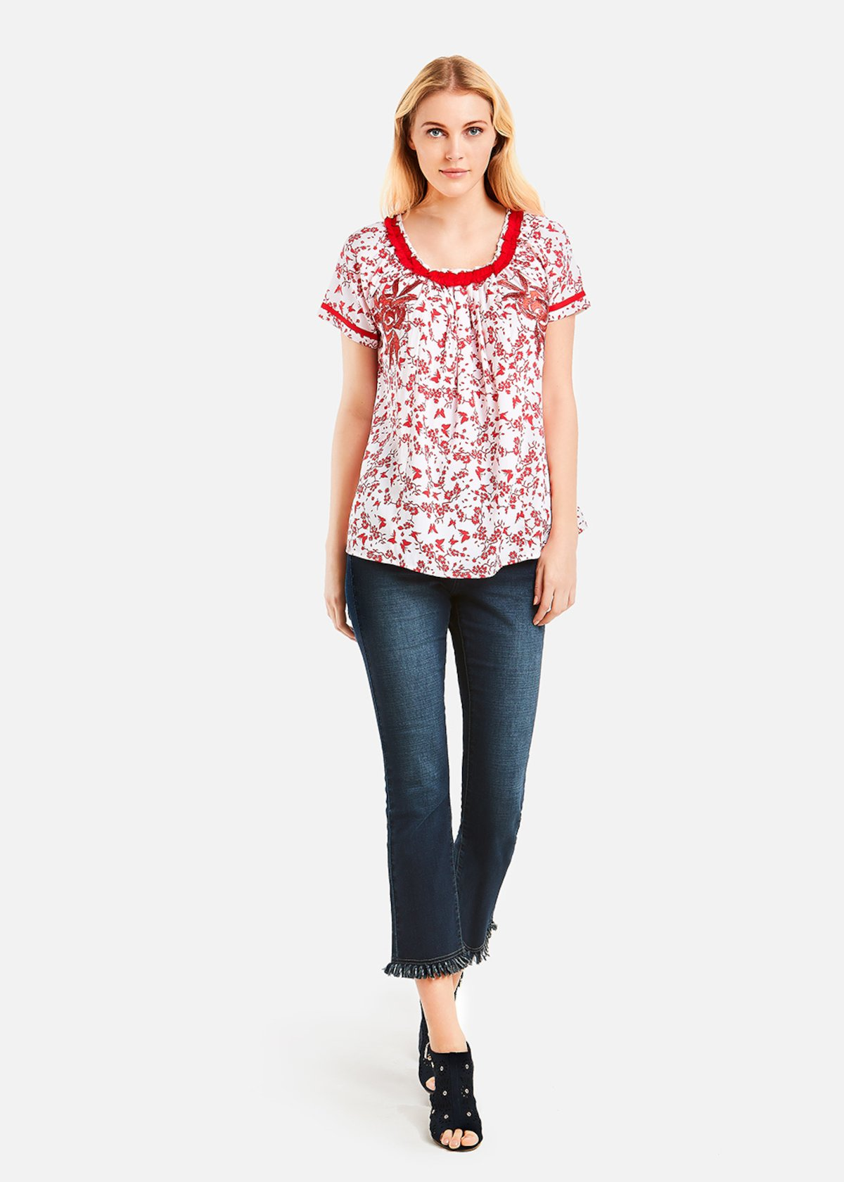 Blusa Cramer white and red