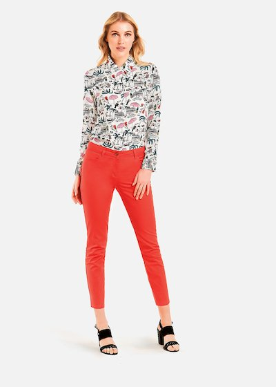 Coris blouse with collar - Fuxia\ White\ Fantasia