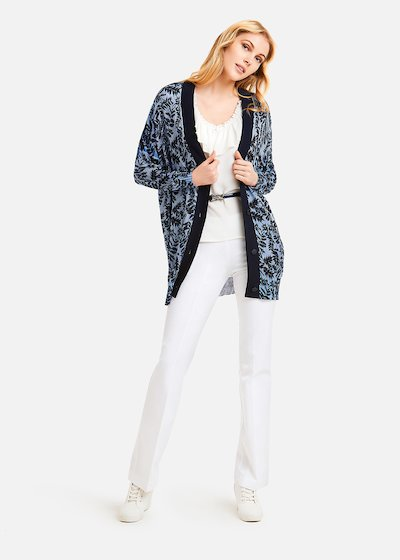 Carl Long Cardigan leaves pattern - Divino / Medium Blue Fantasia