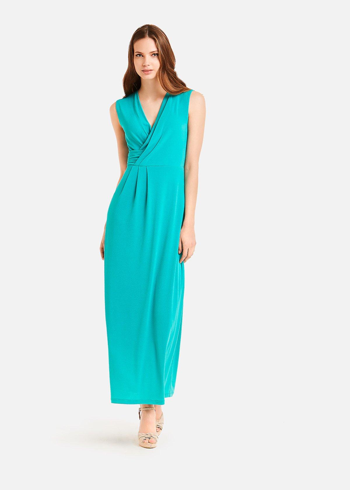Adrien long dress with drape detail - Emerald