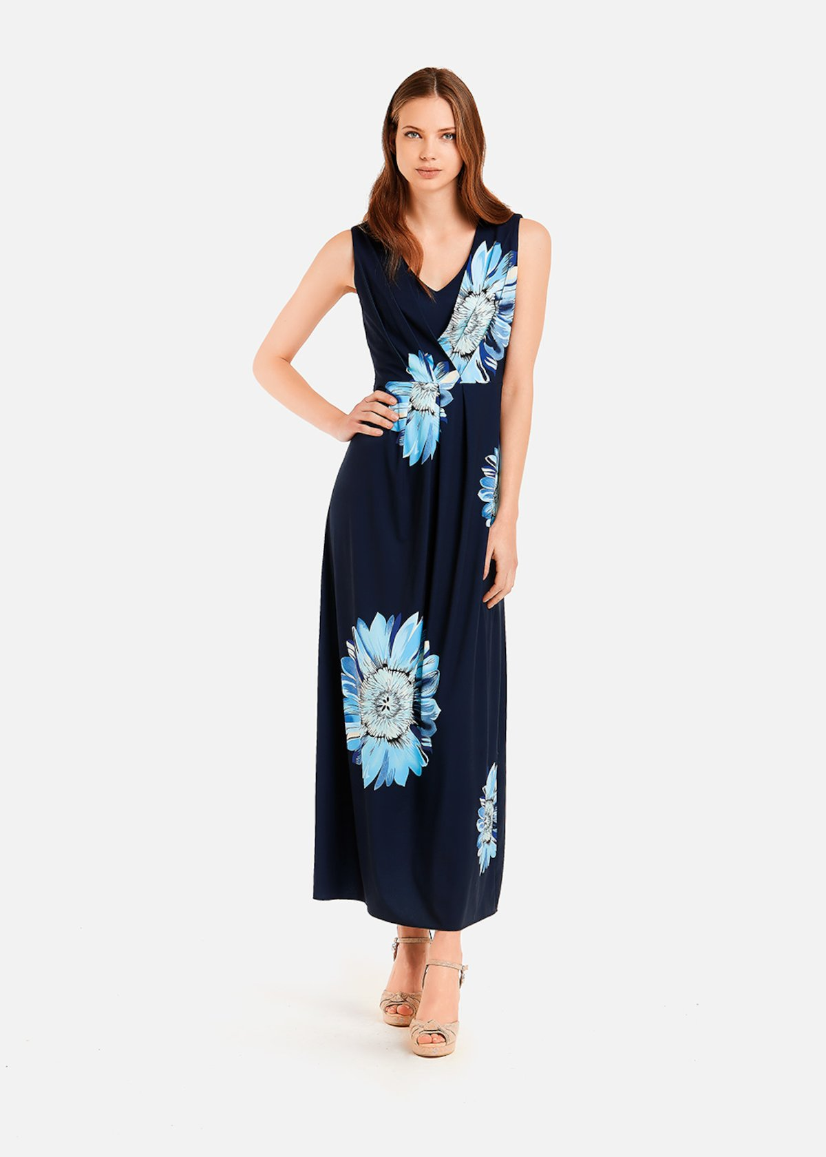 Aris long dress printed with sunflowers - Medium Blue / Aquarius Fantasia