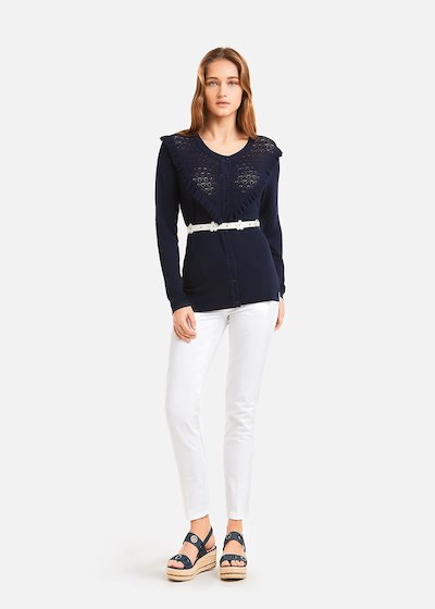Corin Cardigan with embossed insert and ruffles