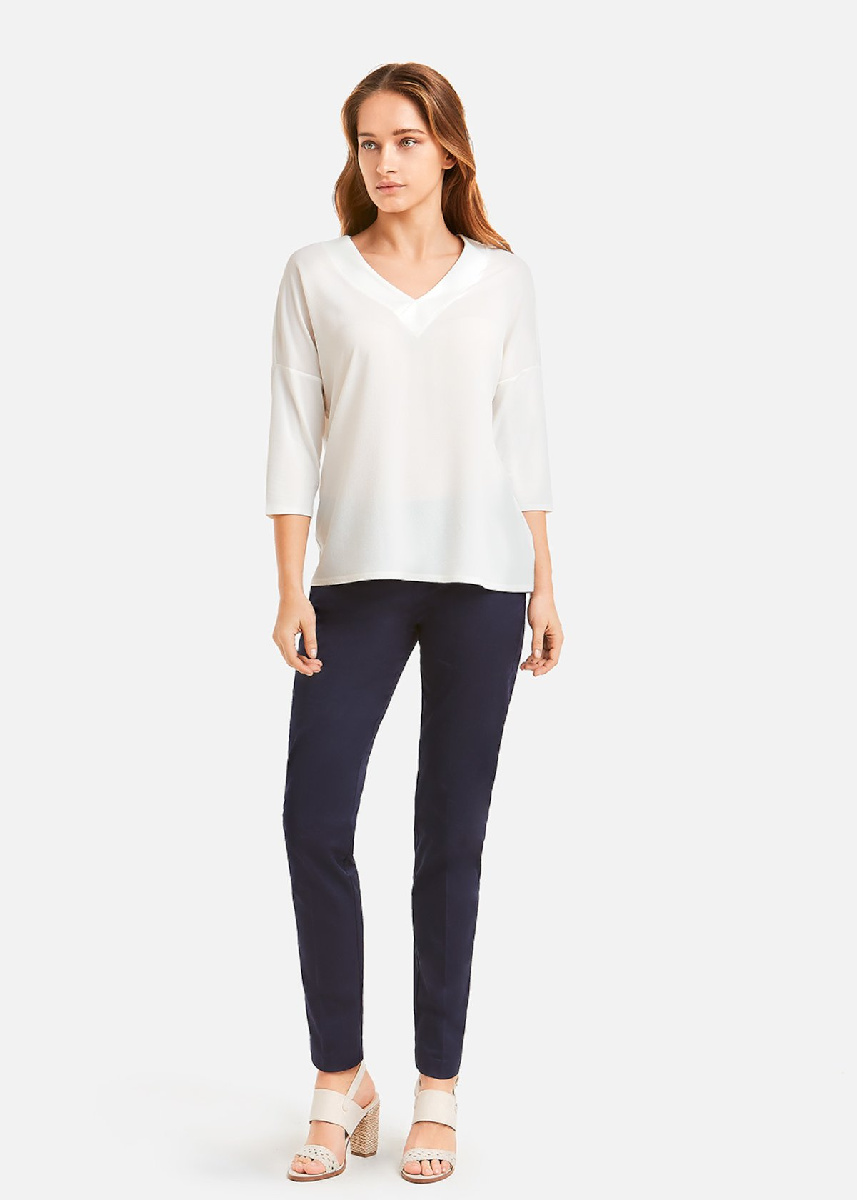 Crepe t-shirt Seal 4 - Bianco