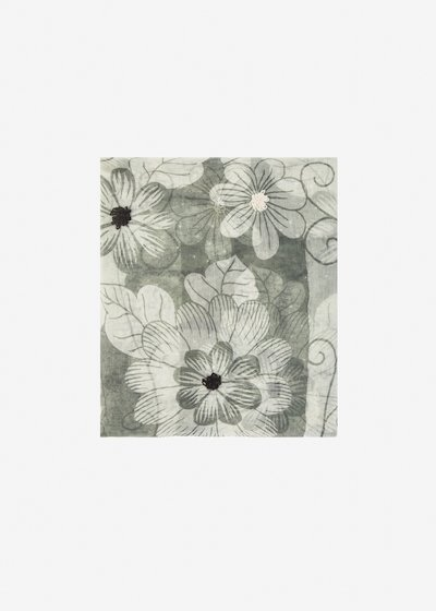 Soleila silk and cotton scarf flower pattern
