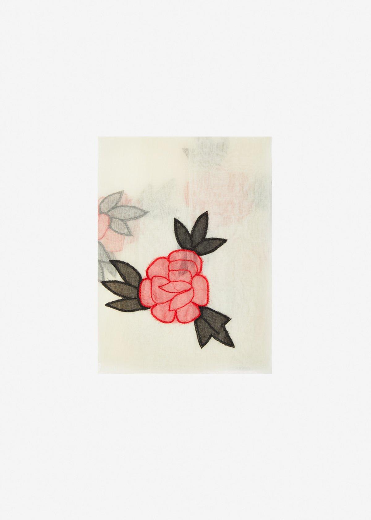 Sciarpa Serra in seta e cotone con embroidery roses