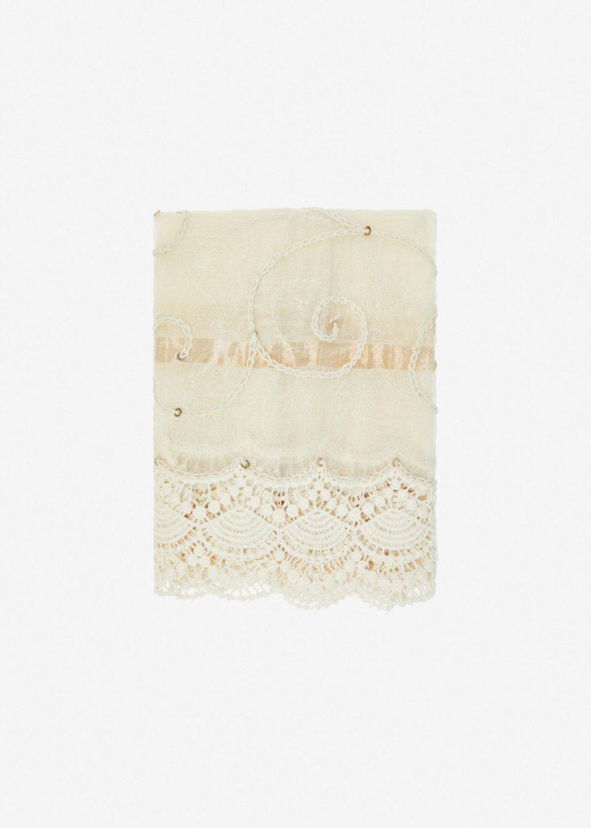 Sciarpa Scraia in seta e cotone con decori in pizzo e paillettes - White