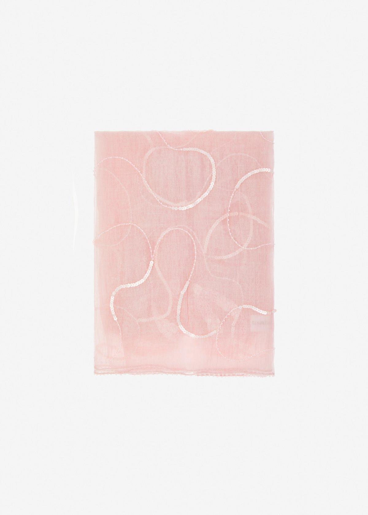 Sciarpa Sequa in seta e cotone con dettaglio paillettes - Magnolia