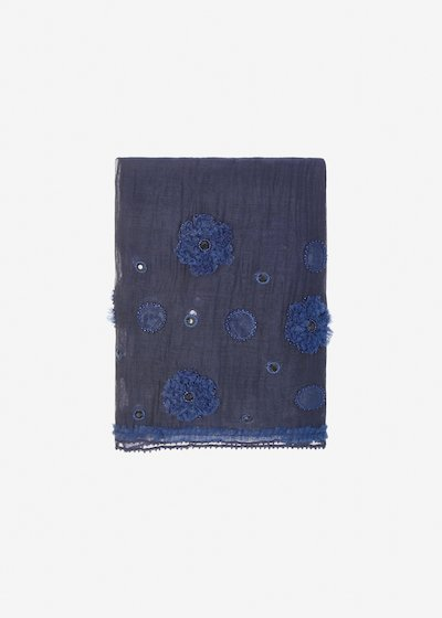 Sfiora silk and cotton scarf with floral embroidery