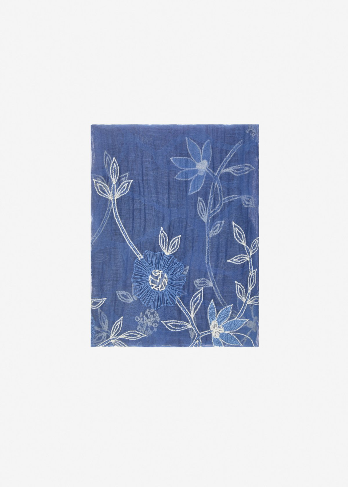 Sallia silk and cotton scarf with flowers embroidery - Blue