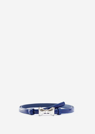 Faux leather Chicca belt with metal bow
