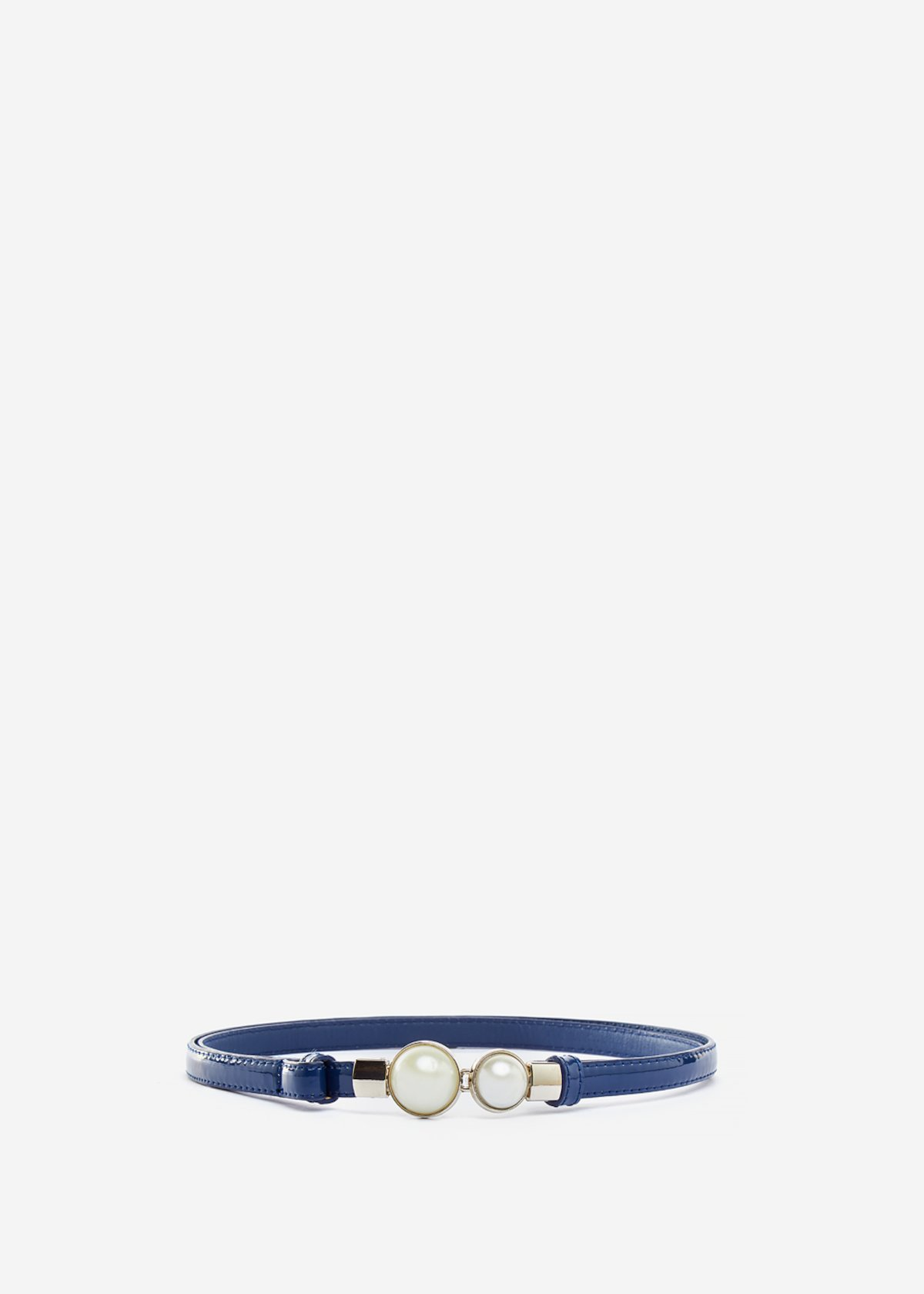 Faux-leather Carla belt with pearls detail - Blue