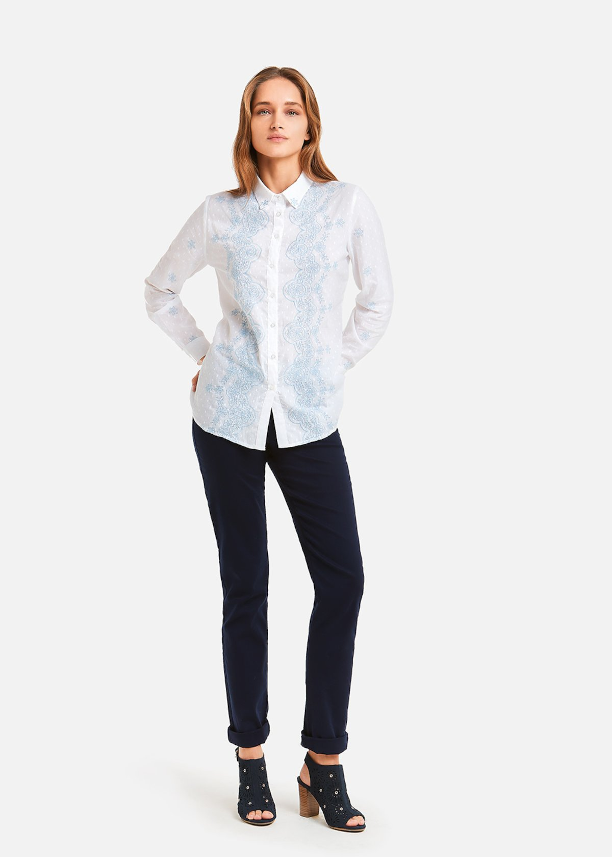 Chery shirt with morning embroidery - White / Morning Pois