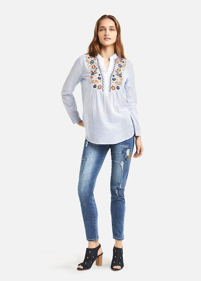 Chelsy multicolour floral embroidered shirt