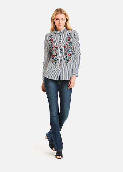 Ciarly striped shirt with flower embroidery