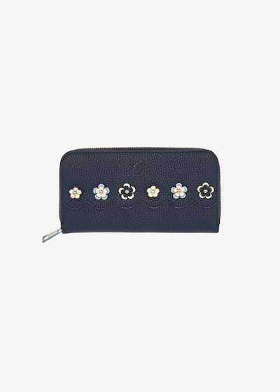 Placy faux leather wallet with flowers applications. - Medium Blue Morning