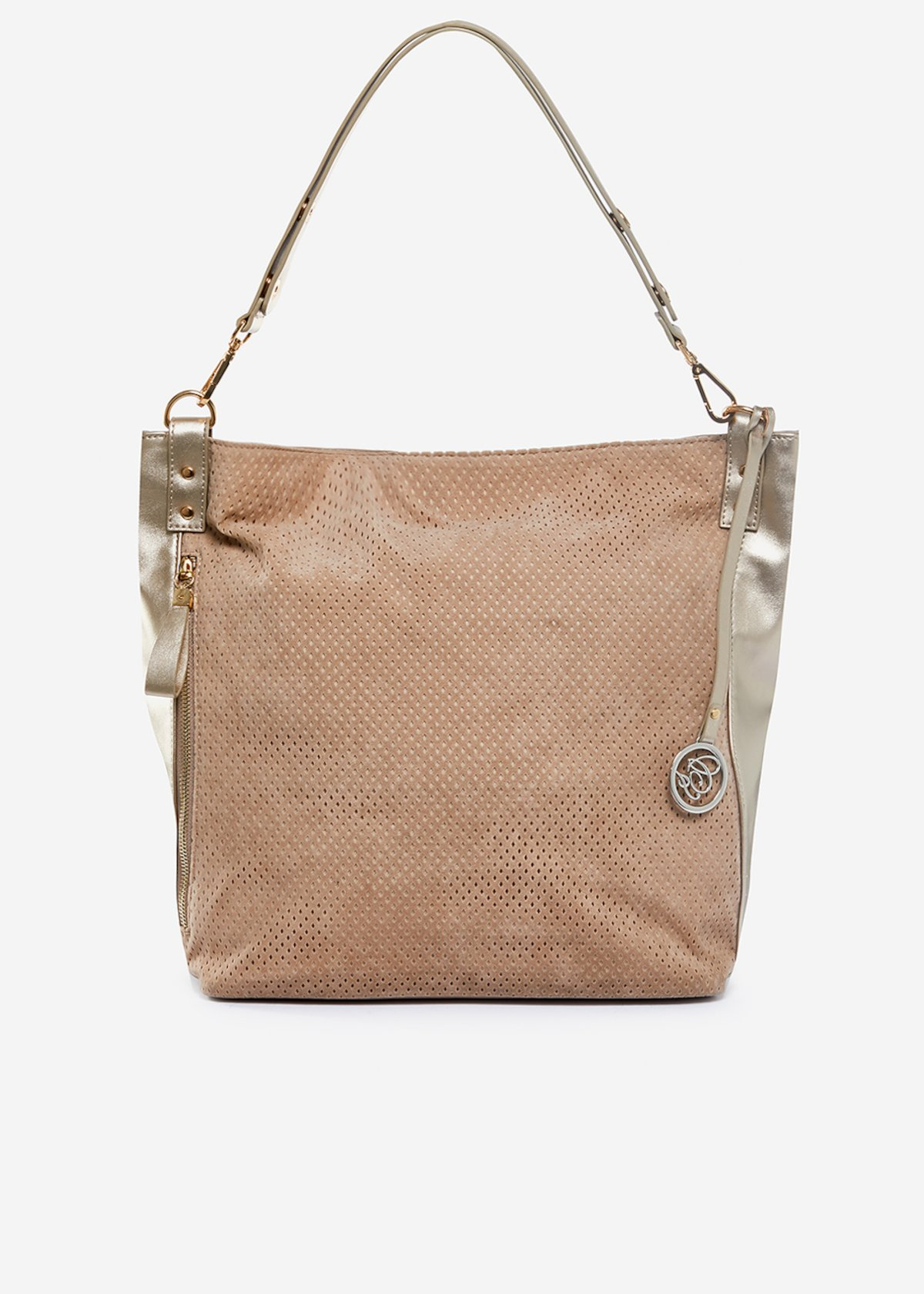 Real suede Bora Hobo bag with leather effect profile - Doeskin