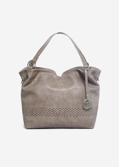 Shoulder Bag Birka in ecopelle con motivo greca traforata