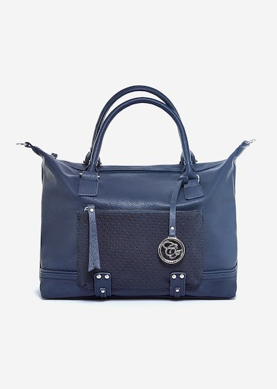 Biocco shopping bag with metal silver details - Dark Blue