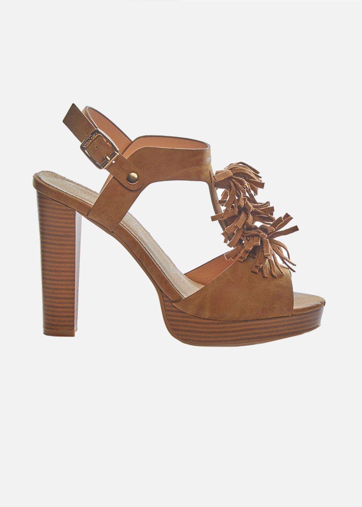 High heel Sandals Santania with fringe detail - Toffee