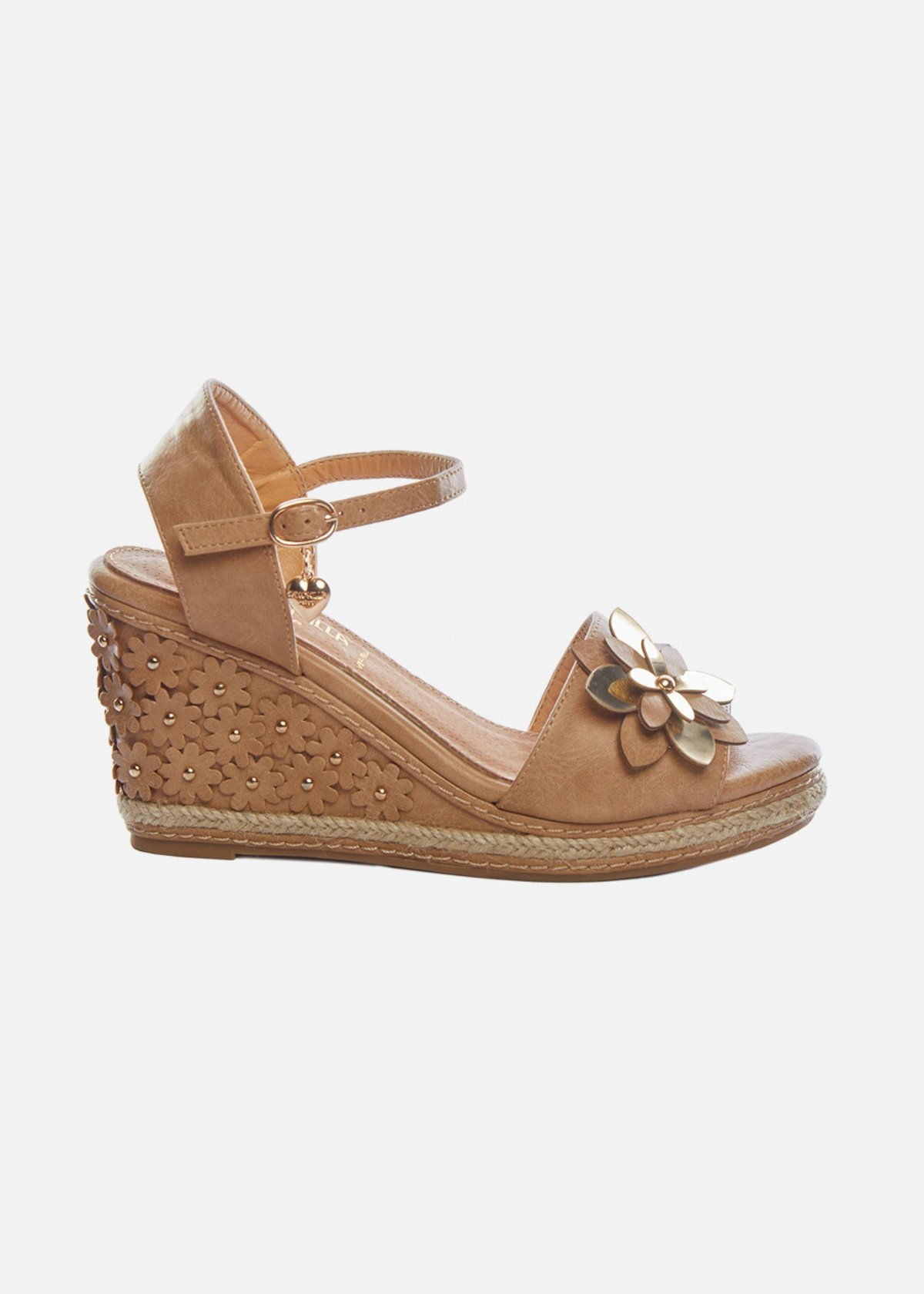 Sflora sandals with flower applications on the wedge - Desert
