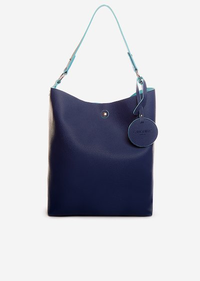 Shopping bag Briglia in ecopelle double material - Medium Blue
