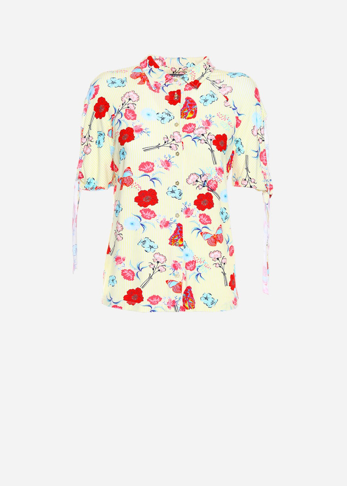 Sadry short sleeves and floral printing jersey shirt