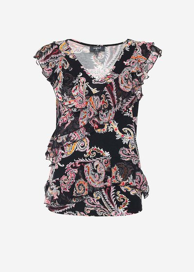 Tiko black top with patterned printing and shoulders-forward rouches