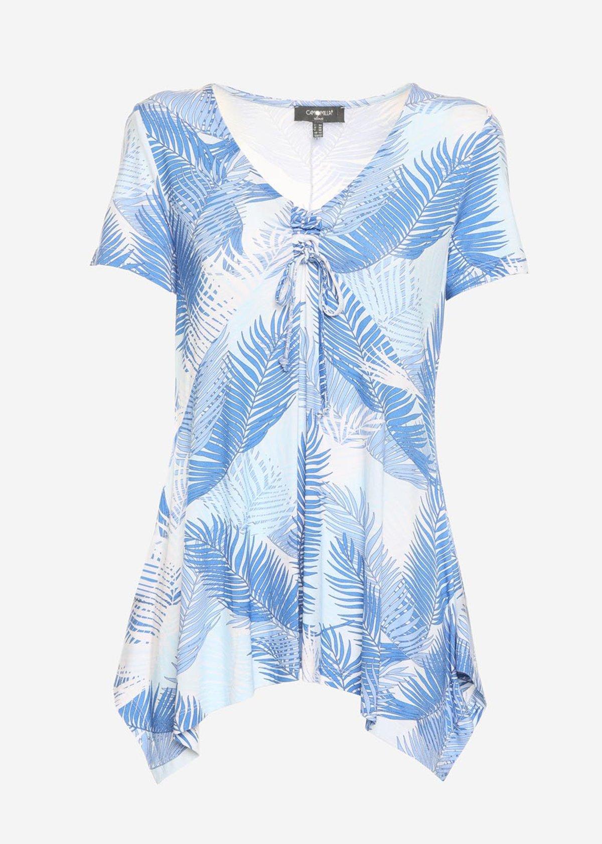 Simmy front bow lacing patterned t-shirt - Formentera / Morning Fantasia