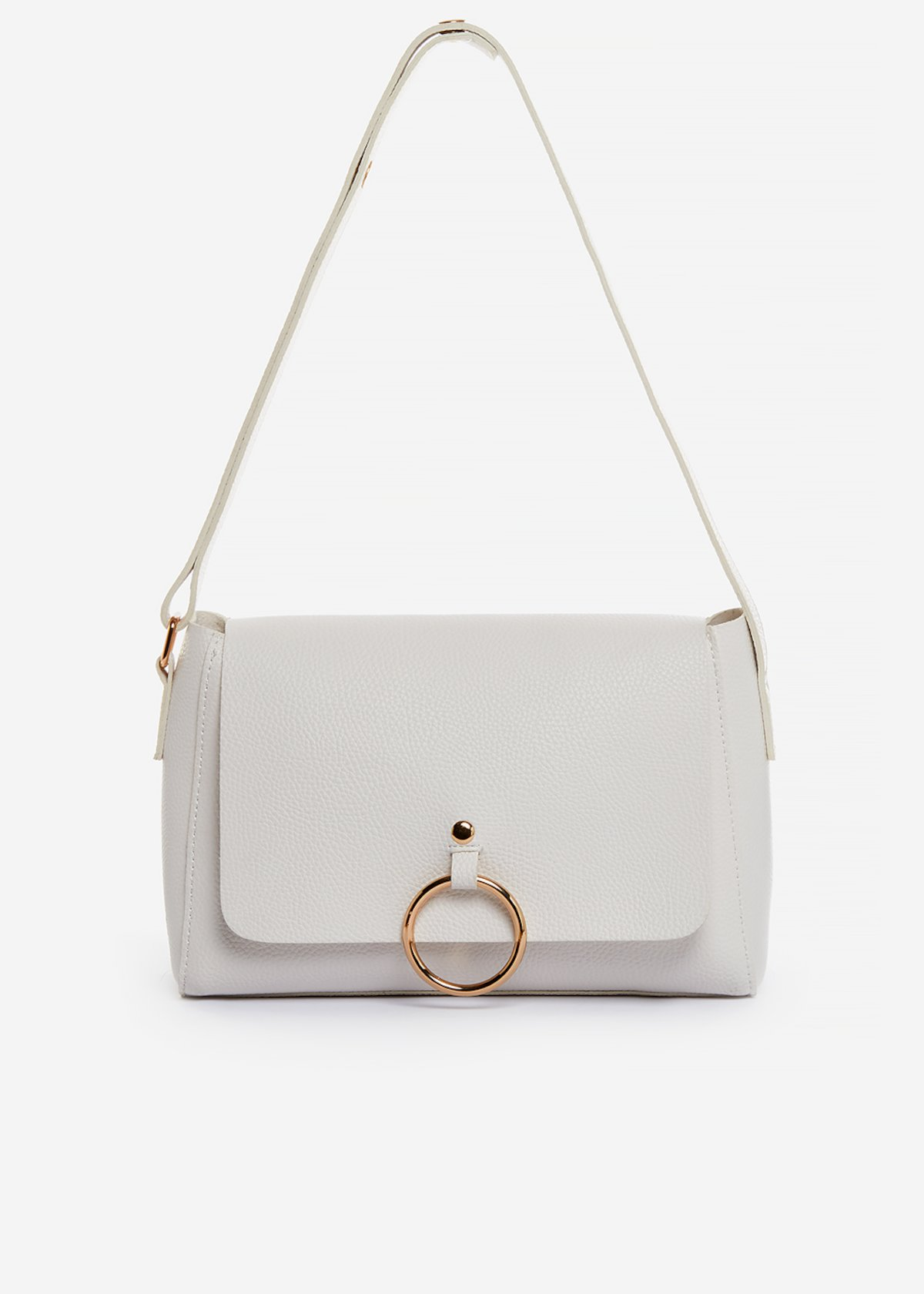Shoulder bag Boralia Small in ecopelle con dettaglio anello-gold - White