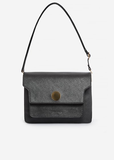 Brenda handbag of faux leather saffiano effect with metal ring detail
