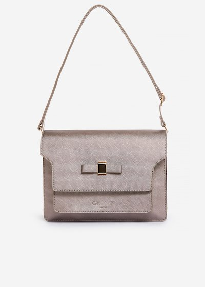 Blonda handbag of faux leather saffiano effect with bow detail